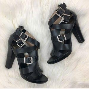 Pour la Victoire Black Strappy Buckle Heels